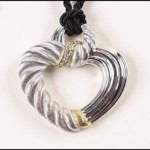 🌟JUDITH RIPKA STERLING HEART/SILK CORD NECKLACE